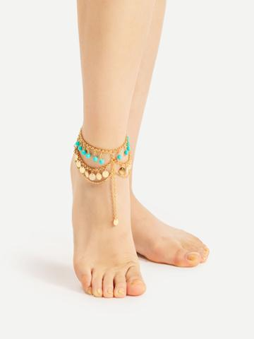 Romwe Beaded And Sequin Chain Layered Anklet