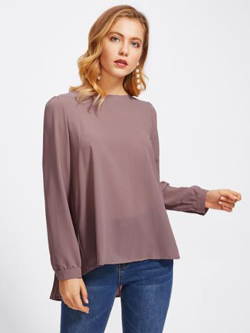 Romwe High Low Pleated Back Blouse