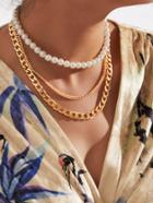 Romwe Faux Pearl & Chain Design Layered Necklace