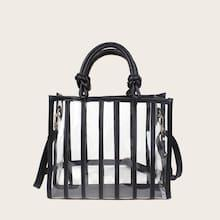 Romwe Striped Design Clear Satchel Bag