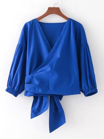 Romwe Surplice Bow Tie Back Wrap Top