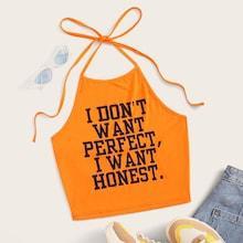 Romwe Neon Orange Slogan Print Halter Crop Top
