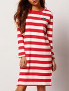 Romwe Striped Split Side Lips Embroidered Tshirt Dress
