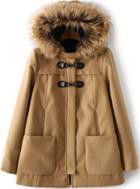 Romwe Faux Fur Hooded Pockets Camel Coat