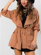 Romwe Orange Hooded Lapel Drawstring Coat