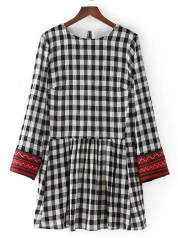 Romwe Embroidered Cuff Tassel Tie Back Gingham Dress