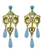 Romwe Blue Beads Chandeloer Earrings