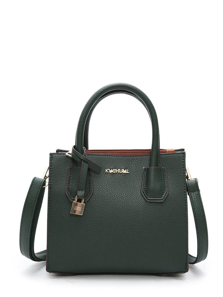 Romwe Metal Lock Detail Pu Shoulder Bag
