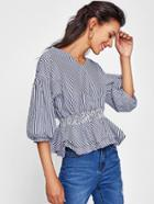 Romwe Drop Shoulder Lantern Sleeve Tiered Frill Hem Blouse