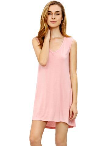 Romwe Pink Minis Sleeveless Vest Casual Dress