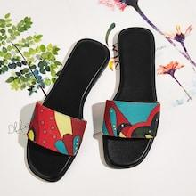 Romwe Cartoon Pattern Flat Slippers