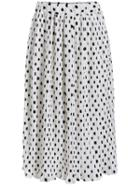 Romwe Polka Dot Elastic Waist Pleated Skirt