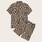 Romwe Guys Leopard Print Shirt & Slant Pocket Shorts Pj Set