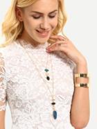 Romwe Layered Gemstone Pendant Necklace