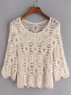 Romwe Elbow Sleeve Crochet Hollow Out Top