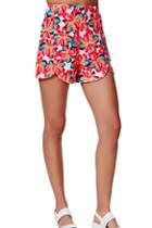 Romwe Floral Print High-waisted Shorts