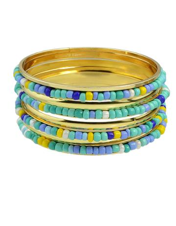 Romwe Blue Beads Bracelets And Bangles