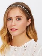 Romwe Faux Pearl Woven Headband