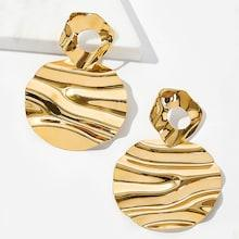 Romwe Textured Disc Drop Earrings 1pair