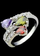 Romwe Multicolor Diamond Silver Fashion Ring
