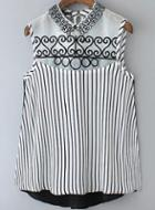 Romwe Lapel Embroidered Vertical Striped Top