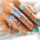 Romwe Retro Ring Set With Turquoise 10pcs