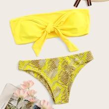 Romwe Neon Yellow Bandeau With Snake Print Bikini Set