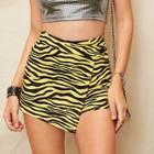 Romwe Asymmetrical Wrap Front Zebra Print Shorts