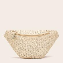 Romwe Zipper Decor Woven Bum Bag