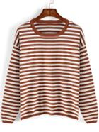 Romwe Women Striped Loose Sweater