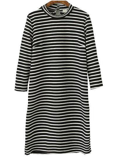 Romwe Striped Keyhole Tshirt Dress