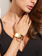 Romwe Golden Minimalist Geometric Open Cuff Bracelet