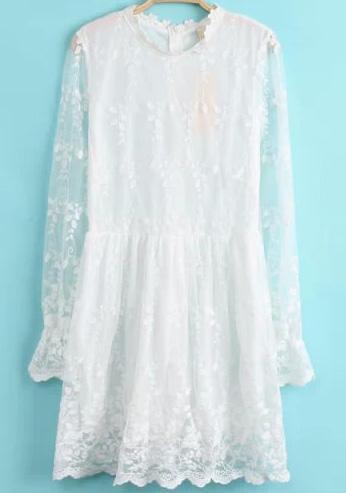 Romwe White Long Sleeve Sheer Lace Dress