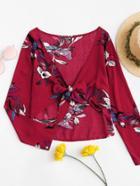 Romwe Floral Print Tie Front Crop Blouse