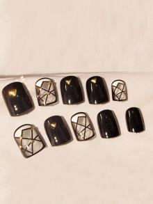 Romwe Stud Decorated Fake Nails 24pcs