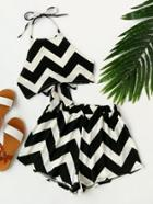 Romwe Chevron Print Bow Tie Back Cami Top With Shorts