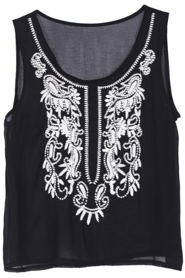 Romwe Romwe Ethnic Embroidered Black Sleeveless Vest