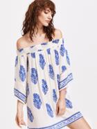 Romwe Tribal Print Tassel Trim Shirred Dress