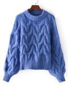 Romwe Lantern Sleeve Textured Sweater