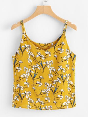 Romwe All Over Botanical Print Cami Top