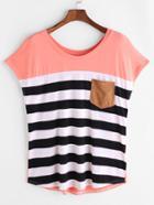 Romwe Striped Pocket Front Cap Sleeve Tee