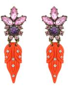 Romwe Orange Diamond Leaves Earrings