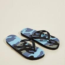 Romwe Guys Camouflage Print Flip Flops