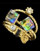 Romwe Colorful Crystal Rings Set