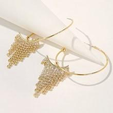 Romwe Rhinestone Tassel Decor Hoop Earrings 1pair