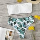 Romwe Bandeau With Tropical Print High Waist Bikini Set