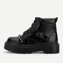 Romwe Buckle Design Lace-up Boots