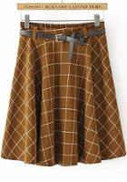 Romwe Khaki Elastic Waist Plaid Pleated Skirt