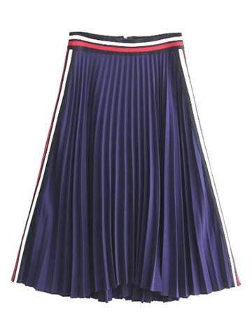 Romwe Striped Trim Zipper Back Pleated Skirt