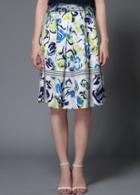 Romwe Floral Chiffon Midi Skirt
